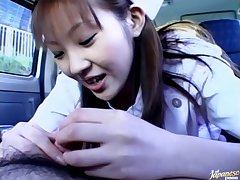 POV video of cute Mari Yamada giving a blowjob in the with of the car