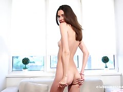 Skinny solo model Cristin takes off her panties nearly tease concerning her cunt