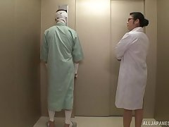 Japanese nurse Minako Komukai gets her pussy fucked by a patient