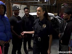 Sexy white police woman Eliza Ibarra gets untidy facial after hardcore blowbang