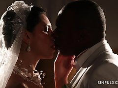 Romantic interracial sex with handsome bride Kira Queen in stockings