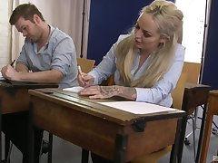 Busty academy friend gets fucked next yon the tutor: Louise Lee