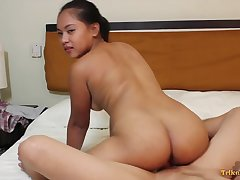 Bubbly exotic harlot with a nice chesty ass riding the brush lover's prick on camera