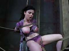Horny master puts his busty slave in real bondage and punishes say no to pussy