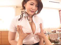 Asian chick Oshikawa Yuri drops on her knees to suck a prick