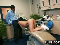 Smoking hot brunette beside big tits is having hardcore sex beside her handsome dentist, in his assignment