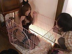 Sweet Asian chick Ami Kurosawa enjoys jerking a dick with her boobs