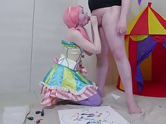 Obedient pigtailed pale slut in the air pink wig gives such a proper blowjob
