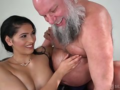 Buxom and sexy beauty Ava Black rides doyenne man's strong cock on top