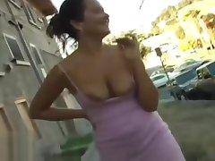 Street flashing girl