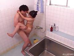 Japanese threesome upon the bathroom with Kamiya Mitsuki