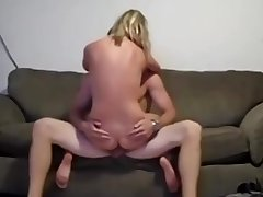 Athletic Amat blonde enjoys cock on someone's skin love-seat
