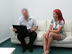 Redhead fucked on get under one's desk