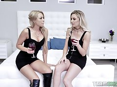 Blonde lesbians Kenzie Taylor and Zoey Monroe share friend's hard cock