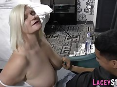 Grandmother with huge breast sucking clear the way stick