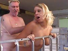 Lucky old geezer fucks two slutty girls
