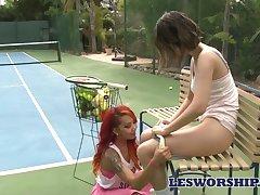 Crestfallen lesbian enjoying some steamy sex upon her tennis friend