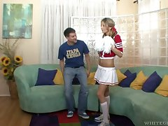 Randy cheerleader needs a stress relieving fuck with a man older than their way
