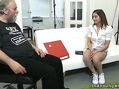 Being lured overwrought fresh young chick Ulia bearded man eats her grasping pussy
