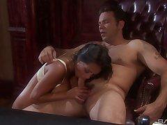 Trimmed pussy pornstar Priya Anjali Rai gets sticky cum on her bosom