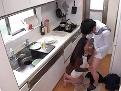 Stifling camera reportage Asian wife Mori Hotaru giving a blowjob