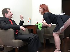 Redhead maid Anna Jelinkova fucked from behind away from the home Eye dialect guv'nor