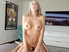 Plowing a big-titted platinum-blonde step- mother wacky finer than milking off while seeing VR porno