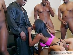 wild gangbang group sex orgy with busty ebony slut - chubby black cocks