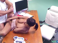 Perverted doctor tells his patient to remove her bra coupled with small-clothes