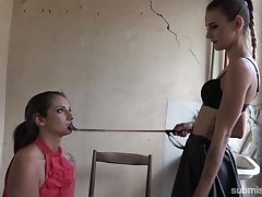 Atrophied profligate mistress dominates a slave bigger than her