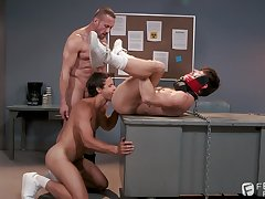 Essential gay lovers in exploitive threesome fetish on cam