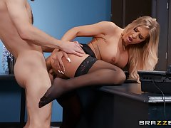 Young lad fucks along to hot secretary and makes the brush swallow