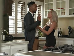 Tall white babe Paisley Bennett gets a mouthful of cum after crazy sex with say no to black lover