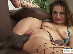 Unbelievably down in the mouth milf in fishnets fucked in interracial making love