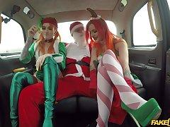 Christmas threeway in a cab alongside jovial gals Alexxa Vice and Azura Alii