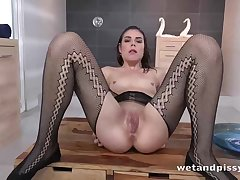 Brunette pet in sexy stockings Jessica Bell wants at hand trinket her tight cunt with as a result much passion