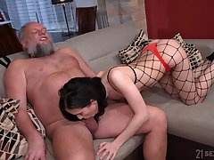Bearded pervert is happy to lick pussy of crumpet in fishnet tights Nikki Fox